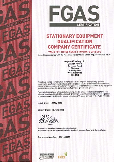 Aspen Cooling Ltd Re-new The Company F-Gas Certification till 2015.